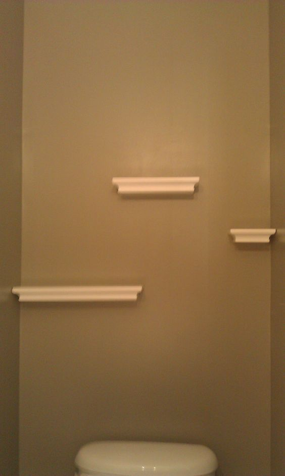 Floating shelves in the powder room hung with command for Bathroom ideas 3m x 3m