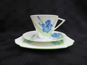 Art Deco Shelley Triplet, Cup, Saucer, Sideplate, Eve Shape, Gladiola Design in Pottery, Porcelain & Glass, Porcelain/ China, Shelley, Tableware | eBay