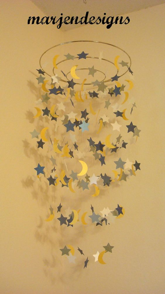 Navy Silver Yellow And Cream Star And Moon Mobile Baby
