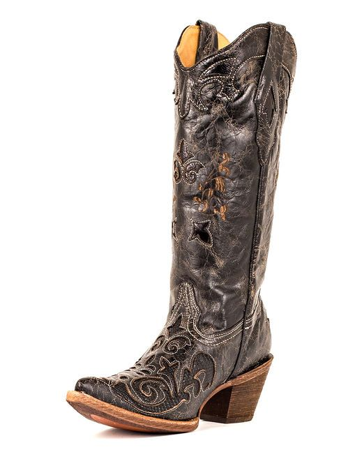 """This handcrafted Corral boot features genuine lizard inlay in vintage-style, black leather. Leather foot and matching 13"" leather shaft. Lizard inlay pull straps and collar. Lightly cushioned insole for walking comfort. 2 3/8"" cowboy heel. Single stitched welt.""' $217.95"