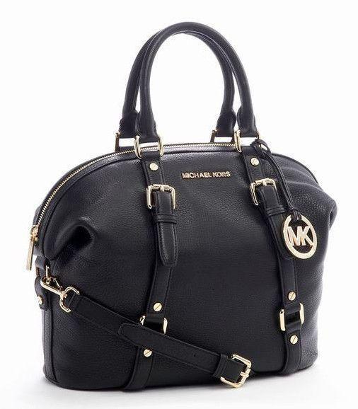 Michael Kors Bedford Belted Medium Satchel Bag Black Pebbled