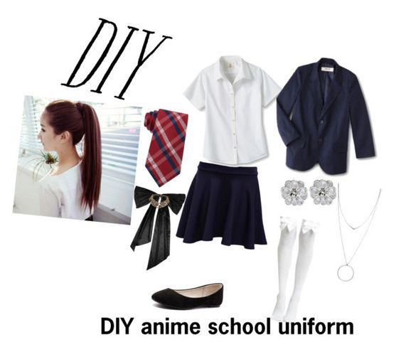 """DIY anime school girl uniform"" by bigbat401 ❤ liked on Polyvore featuring Pilot, Lands' End, Verali, Tommy Hilfiger, Oscar de la Renta, Botkier, halloweencostume and DIYHalloween"