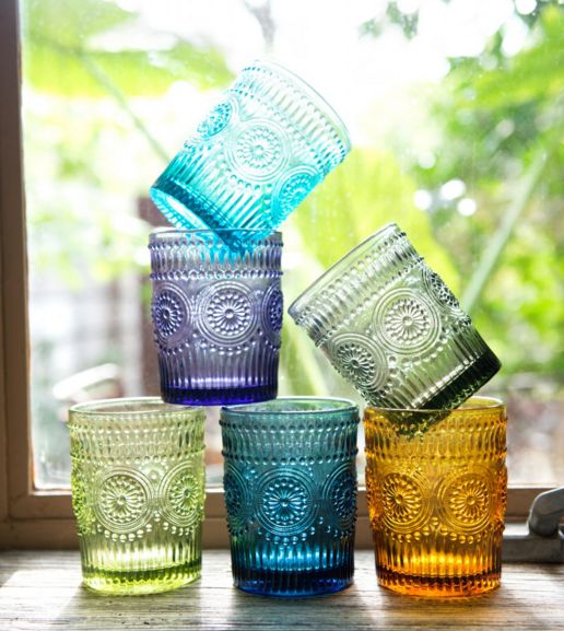 Colorful Lowball Glasses - 6 Colors. #glassware #colorful #pretty #earthboundtrading