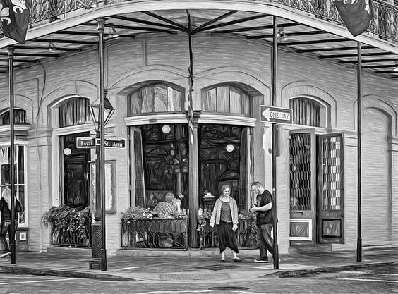 Pere Antoine Restaurant - Paint Bw.  Dining in the open air at Pere Antoine Restaurant on Royal Street in the French Quarter of New Orleans. B&W paint version.