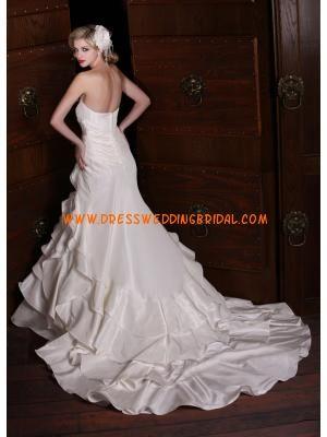 Sweetheart Mermaid Beaded Multilayered Satin Vintage Wedding Dresses 2013