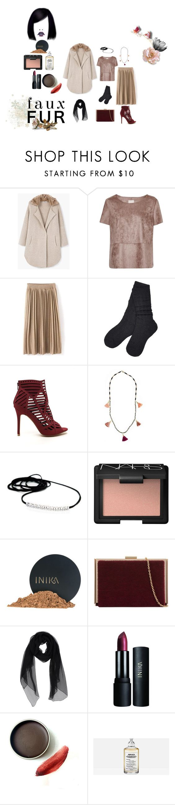 """""""Fauxy!"""" by a-anja ❤ liked on Polyvore featuring MANGO, Great Plains, UGG, NARS Cosmetics, INIKA, KI6? Who Are You? and Maison Margiela"""