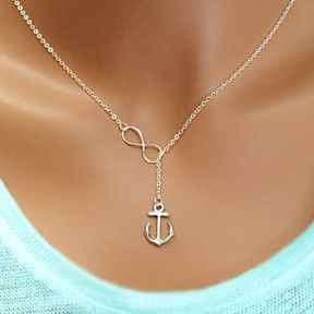 Infinity Anchor Silver Lariat Necklace, Sea Beach Lariat Necklace Jewelry, Nautical Jewelry Gift by SilverRapture on Opensky