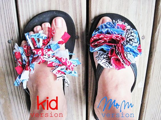 I can see matching pairs of these patriotic bandana flip flops for me and my daughters for 4th of July!
