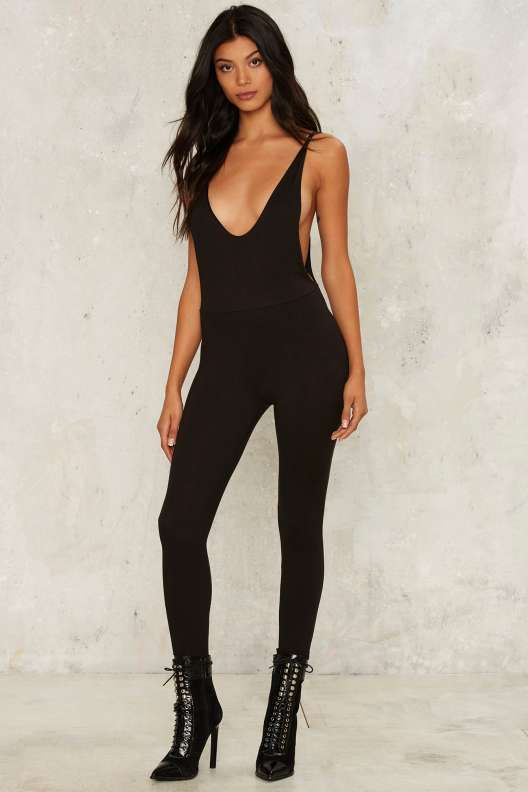 Open Back Policy Plunging Jumpsuit