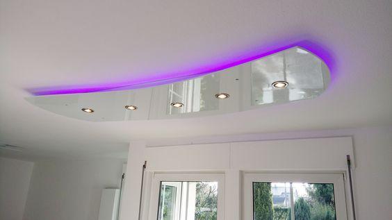 abgehängte Decke Wave mit direkter und indirekter LED Beleuchtung - küchenbeleuchtung unterbau led
