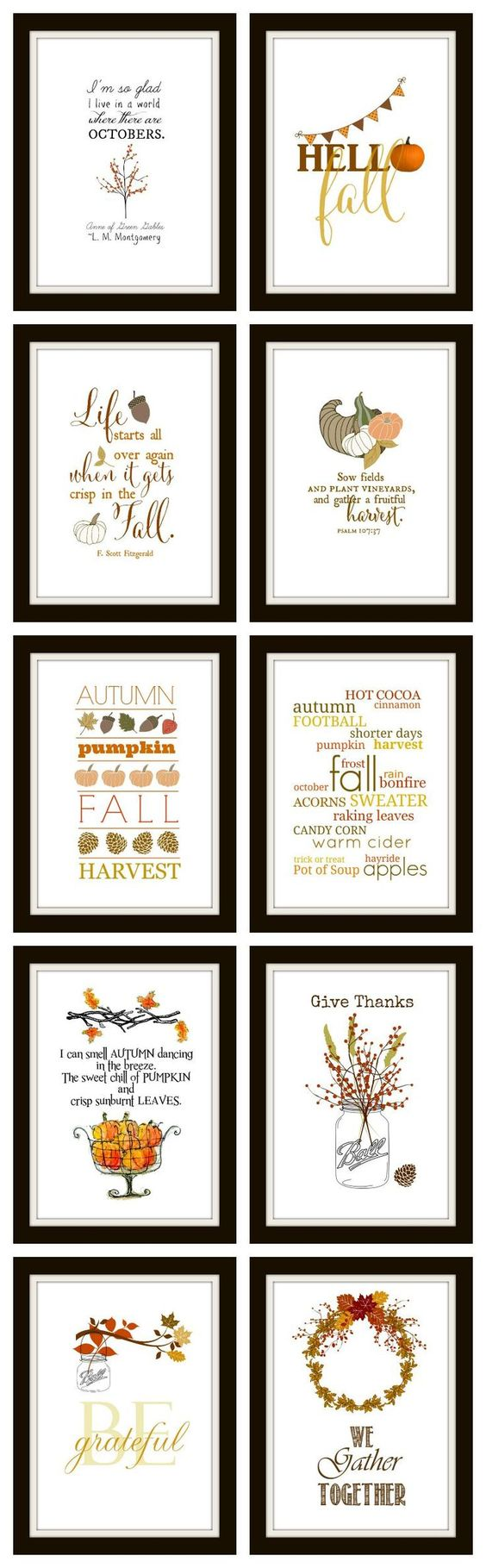 10 Free Fall Printables | Ready to frame for instant DIY wall art. They make great cards and screensavers too! All are original and all the easy links are right here.