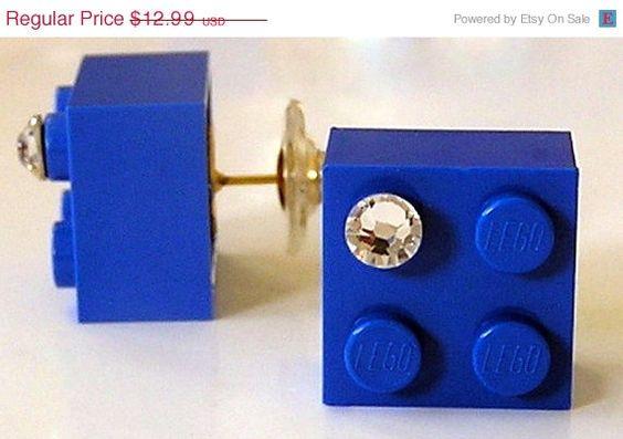 ON SALE Dark Blue LEGO R brick 2x2 with a by MademoiselleAlma, $9.09