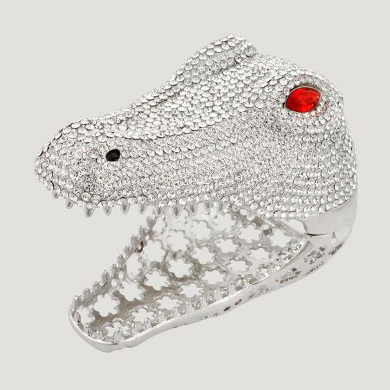 Large Crystal Crocodile Cuff