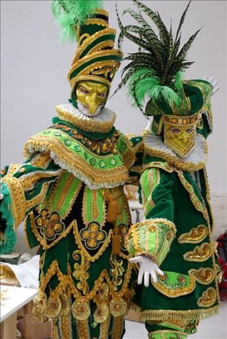 Classical characters of Venice Carnival: Medico della peste and Bauta