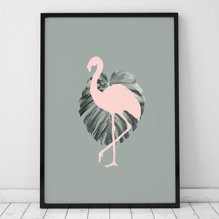 Poster ou Tela MDF - Leaf Flamingo