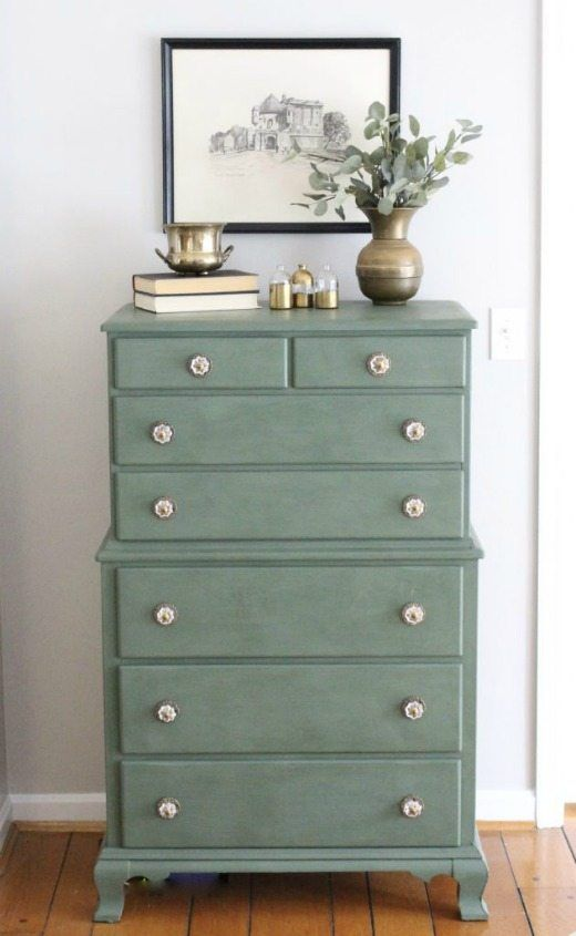 Sage green painted dresser - Green is a hot home decor trend right now, so check out these gorgeous furniture flips. Furniture makeovers with all shades of green paint | Green painted furniture.