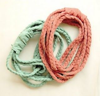 make old tshirts into head bands, jewelry, flowers, and more!
