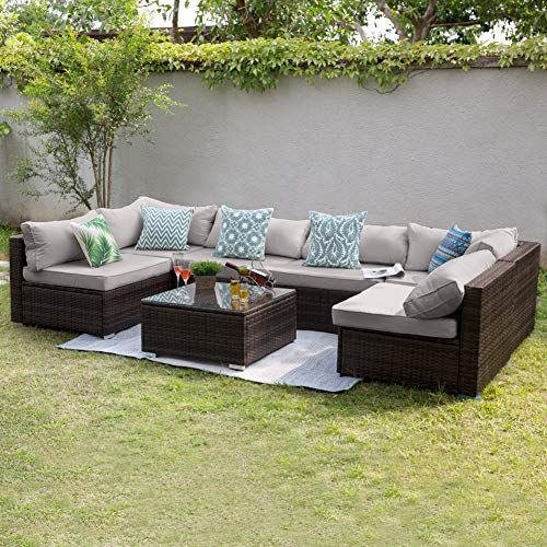 Tribesigns 7 Pcs Patio Furniture Sectional Sofa Set Extra Large
