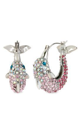 Betsey Johnson  Pave Crystal Dolphin Hoop Earring