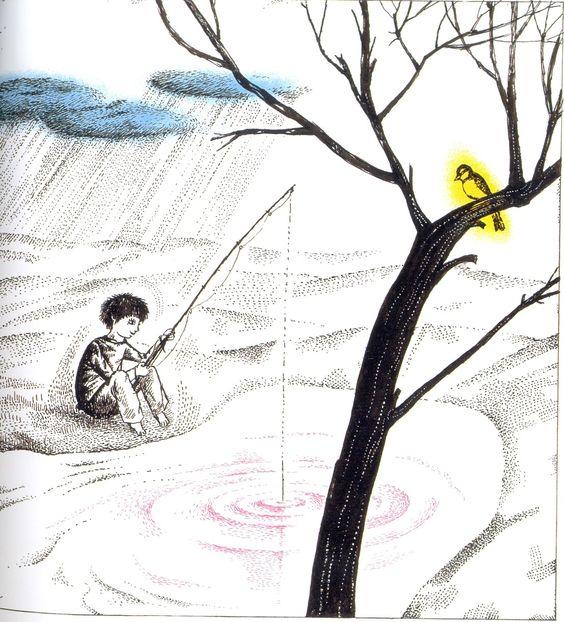 """""""...y la pequeña tormenta y la lombriz de tierra y el herrerillo"""" (H. Janisch)."""