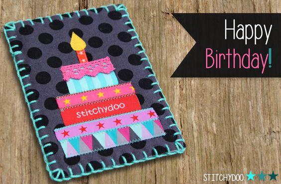 stitchydoo: DIY | Geburtstagskarte mit Torte aus Webbändern // #stoffkarte #fabriccard #birthdaycard