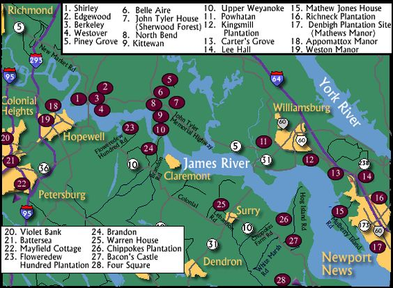 Visit some of the James River Plantations especially Shirley – Virginia Travel Map