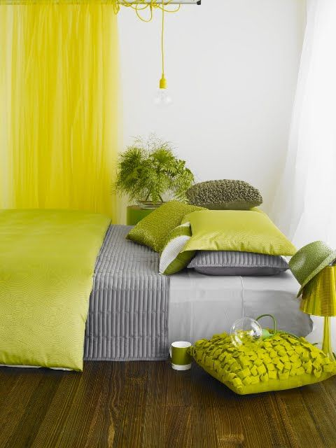 Lime green with neutrals