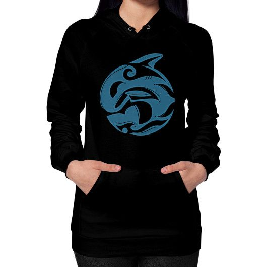 Tribal Killer Whale Tattoo in Blue Hoodie (on woman)