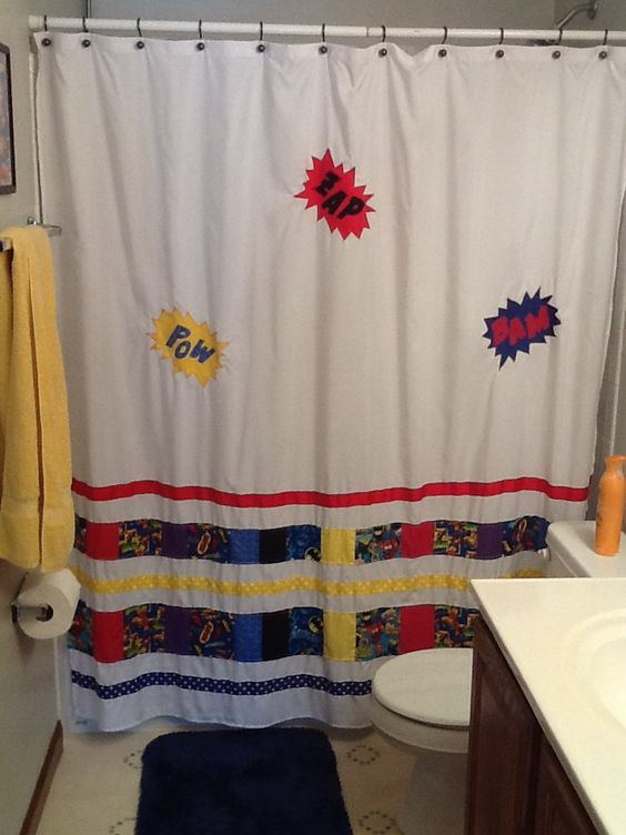 Ribbons heroes and showers on pinterest for Superhero shower curtain