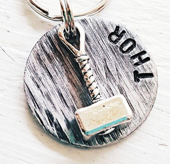 "Small Dog Tag, Tag, Cat Tags, Pet ID Tag, Pet Tag, Pet Tags, Engraved Pet Tag, Dog, Collar Tag, Metal Pet Tag, (Thor'so Hammer 1"") Thor by MiliTagAPet on Etsy"