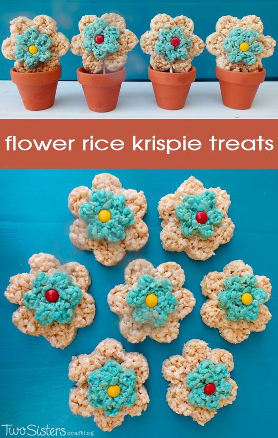 These Flower Rice Krispie Treats are easy to make and great for a brunch, a baby shower or as a special treat for someone that needs a smile!  And for more great Rice Krispie Treats ideas follow us at http://www.pinterest.com/2SistersCraft/