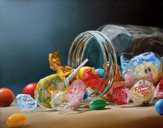 Artista holandês, baseado em Londres, Tjalf Sparnaay, pinta imagens hiperrealistas de comida.
