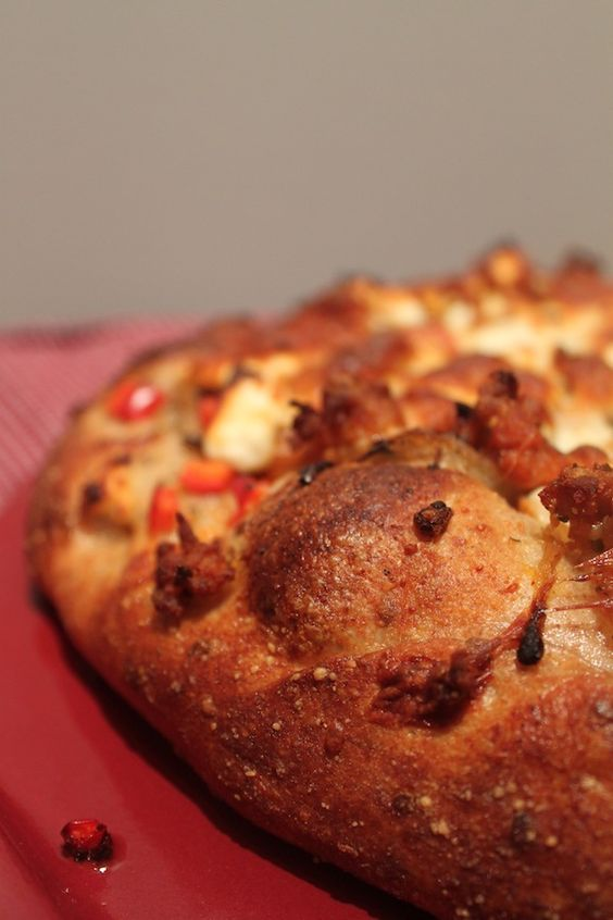 ... : Pizza with Sausage, Red Pepper Caramelized Onion and Feta Cheese