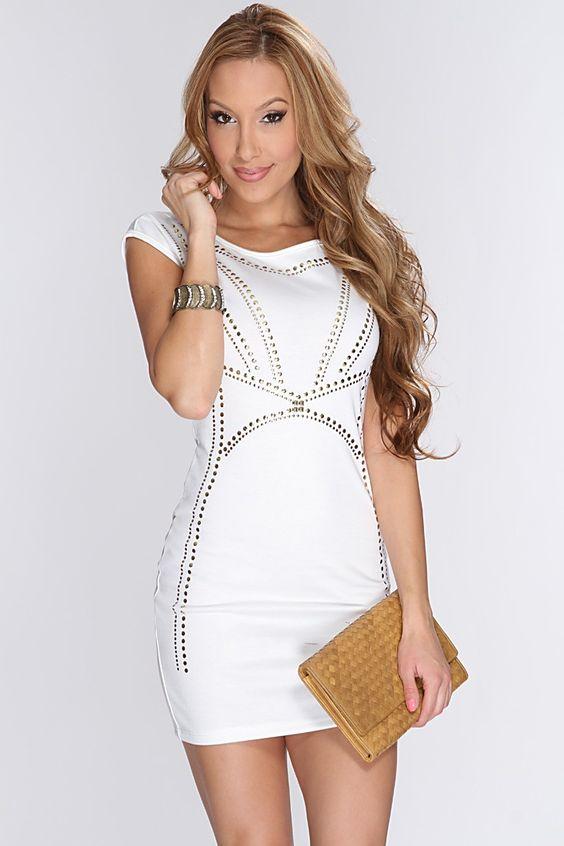 Spring cocktail attire for short women  White Studded Short ...