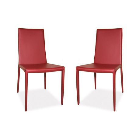 "We know you'll love the dramatic look of this Whittier Dining Chair Set. Its edgy mix of materials and array of bold colors say ""contemporary chic"" in capital letters. Stretched bonded leather covers w...  Find the Whittier Dining Chair - Set of 2, as seen in the Our Best Seating Sale Collection at http://dotandbo.com/collections/our-best-seating-sale?utm_source=pinterest"