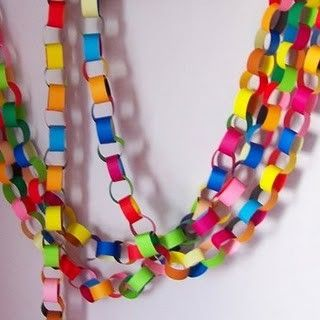 Kickin it old school party decorations, Rainbow paper chains!