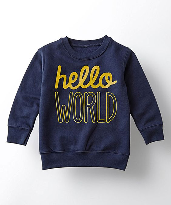 Navy 'Hello World' Crewneck Sweatshirt - Toddler & Kids | World ...