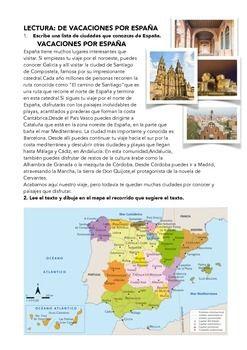 Free Spanish reading worksheet. Traveling through Spain.