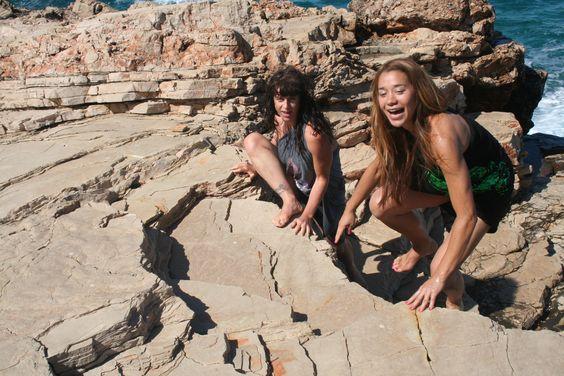 Yoga guru Jana Appleyard and Emma rock climbing on the rocks of Hvar Island, in there Emma Nissim signature 'Wraps'!
