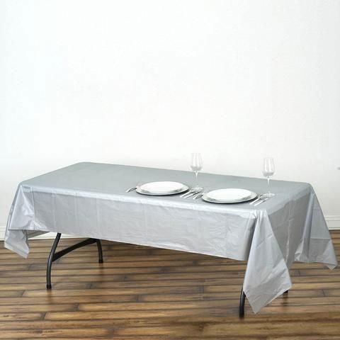 54 X 108 Silver 10mil Thick Disposable Plastic Vinyl Rectangular Tablecloth Plastic Table Covers Plastic Tables Table Cloth