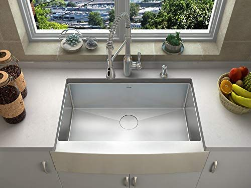 36 Inch Stainless Steel Single Bowl Flat Front Farmhouse Apron Kitchen Sink Brushed Nickel Kitchen Faucet Farmhouse Sink Kitchen Stainless Steel Farmhouse Kitchen Sinks
