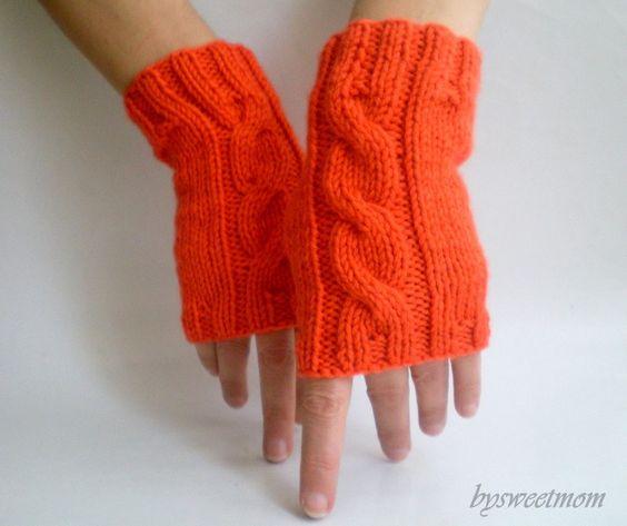Orange Tangerine Fingerless Gloves
