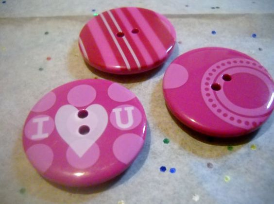 Magnets Set of 3 Pink Button Magnets by waterflowingwest on Etsy, $5.00