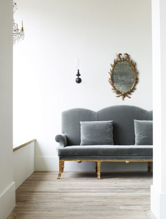 Rose Uniacke Interiors. Blue grey velvet settee and classical decor. #minimal #bluegrey