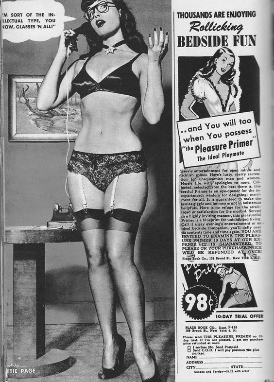 """Bettie Page.."""" I'm Sort Of The Intellectual Type, You Know, Glasses 'N All ! """""""