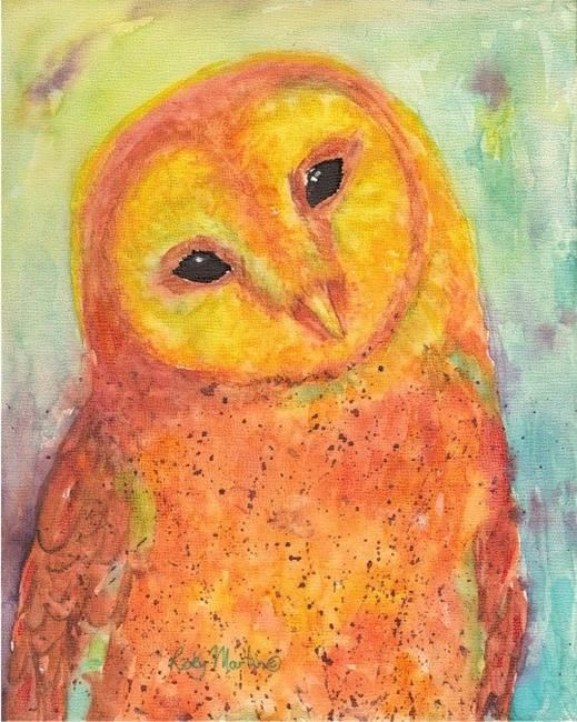 Golden Barn Owl Portrait Painting Abstract Watercolor Painting Art