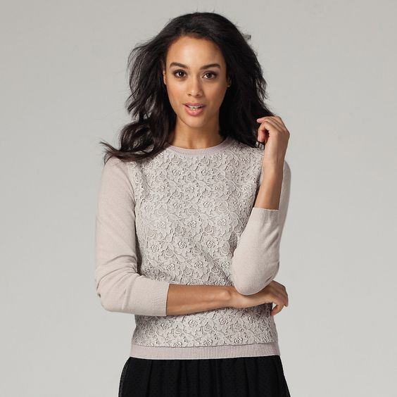 Lace Front Sweater | The White Company