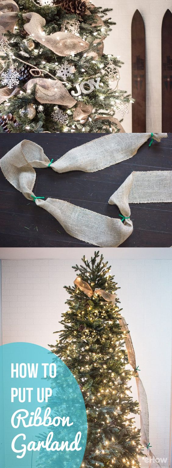 How To Put Ribbon Garland On A Christmas Tree Pinterest