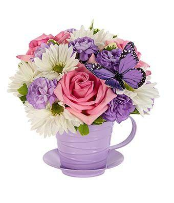 Flowers - Fresh as Lavender Tea Cup Bouquet - http://flowersnhoney.com/flowers-fresh-as-lavender-tea-cup-bouquet/: