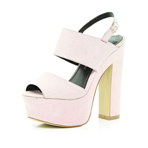 Light pink chunky platform sandals - heels - shoes / boots - women